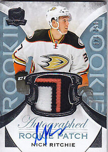 Nick Ritchie The Cup 3 clr autograph / patch rookie hockey card!