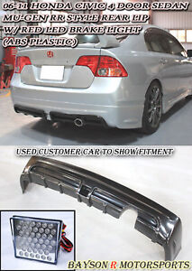 06-11 Civic 4dr Mugen RR Rear Lip + LED Brake Lights