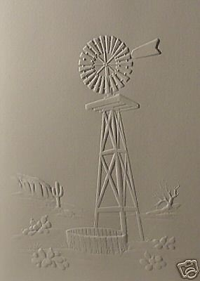 Embossed Windmill Note Card