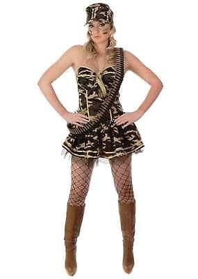 LADIES ARMY COMMANDO GIRL FANCY DRESS COSTUME CAMO BASQUE + SKIRT SIZE XS - L (Camo Commando Kostüme)