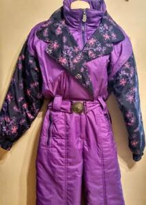 Oakville Vintage SKI SUIT One-piece Ladies M  PURPLE Funky Print RARE Snow Retro SEE MY LISTINGS FOR OTHERS & MENS TOO