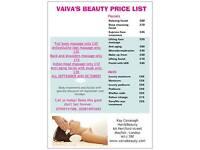 Vaiva's Beauty at Kay Cavanagh Hair&Beauty Mayfair-all beauty treatments