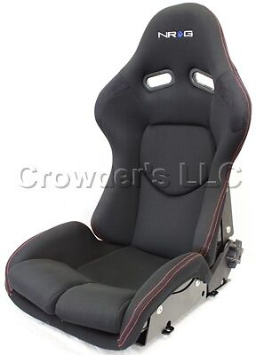 Nrg Reclinable Frp Bucket Seat, Black Cloth, Red Stitching With Black Backing