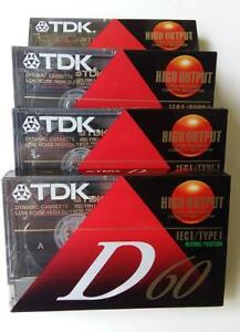 Four Cassettes Tapes Vintage Recording TDK Superior D60