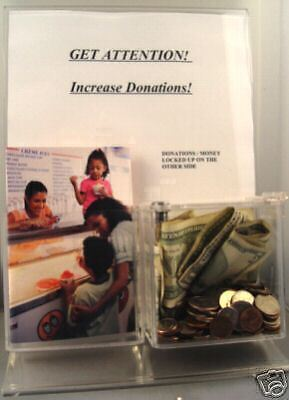 4 Charity Fundraiser Acrylic Donation Box Trifold Brochure New Lock 2 Keys
