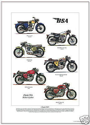 CLASSIC BSA MOTOR CYCLES - A3 Size Art Print - Gold Star Spitfire Rocket Clubman