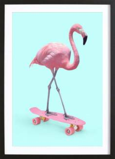 Black Picture Frame Print Art Flamingo on Skateboard - NEW