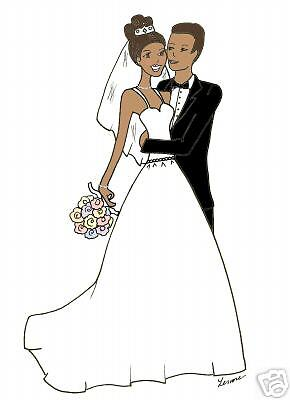 African American wedding bridal cards Personalized