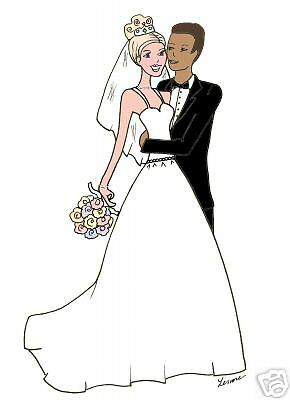 Interracial  bridal couple bridal cards Personalized