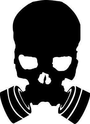 Skeleton Gas Mask (Skull Gas Mask Decal Military Vinyl Sticker Window Wall Veteran Skeleton)