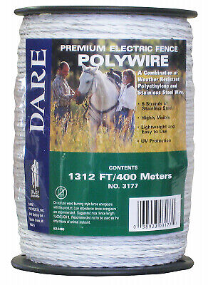 Electric Fence Wire White 1312-ft.