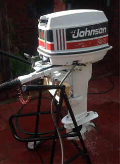20hp Johnson Outboard, Long Shaft, Tiller Steer