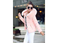 New - Womens winter warm down cotton hooded coat with slim short fur colloar, UK size 8