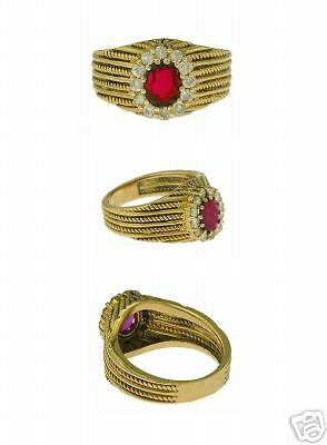 Estate 18kt Yellow Gold Diamond Ruby Fashion Ring