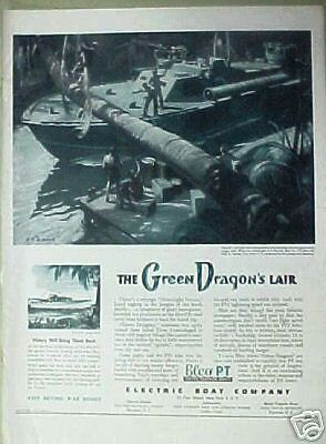 1944 Wwii Electric Boat Co Elco Pt Green Dragons Lair Military Memorabilia Ad