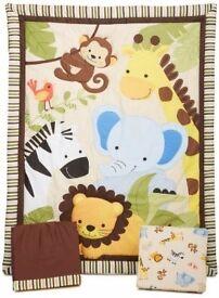 Lambs & Ivy Jungle Buddies 3 piece cot quilt & Bedding Set (quilt, valance & sheet) rrp £70