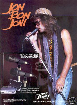 JON BON JOVI PINUP in a PEAVY microphone PRINT AD vtg 80