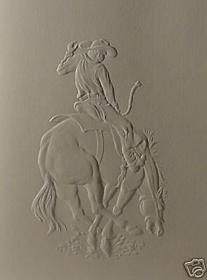 Embossed Bronco Rider Note Card