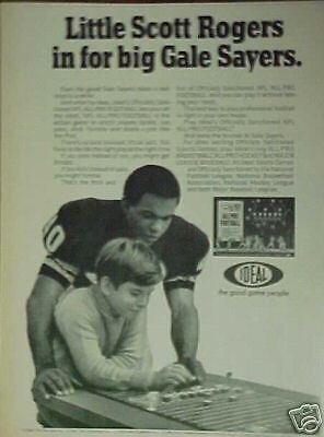 1969 Gale Sayers Chicago Bears Oddball Sports All-Pro Football Game Trade Art Ad