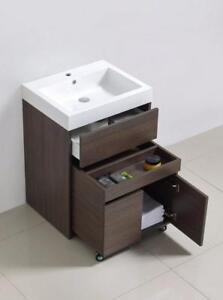 Vanité 1 tiroir Luxo Marbre, petit cabinet sur roues à l'intérieur, lavabo inclus