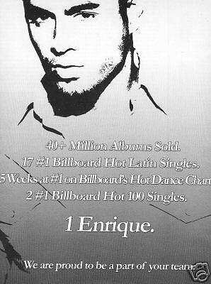 ENRIQUE IGLESIAS Promo Poster Ad 40 MILLION ALBUMS SOLD