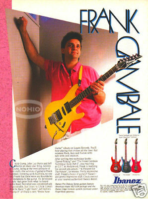 FRANK GAMBALE IBANEZ GUITAR AD pinup 80's jazz fusion, used for sale  USA
