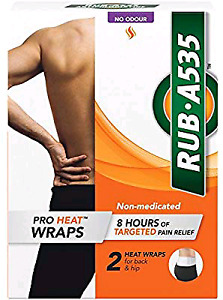 RUB-A535 Back Pain Relieving Pro Heat Wraps, 2 Count