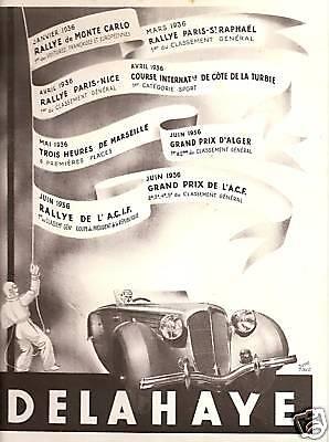 DELAHAYE FRENCH MAGAZINE AUTO AD 1936 RENE RAVO