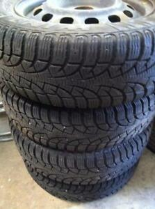 "4 - Honda Civic 14"" 4 Bolt Steel Rims with Very Good Pirelli Winter Tires - 185/65 R14"