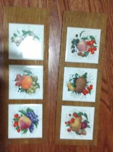 Fruit tiles mounted on board and ready to hang for sale