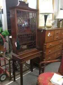Antique Pagoda Top Collector's Cabinet