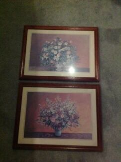 Prints In Wooden Frames With Glass x2
