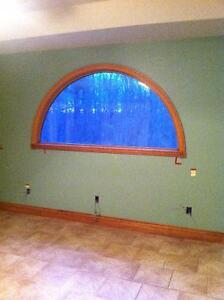 "7'x44"" 1/2 moon window & 6' patio door with screen"