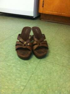 Ladies size 9 brown wedge sandals