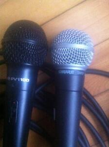 Kustom amp, peavey mixer, and mics with stands