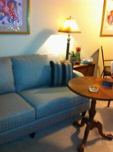 New Couch... Cream strip with a grey silver look