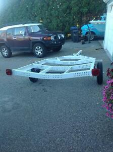 Boat trailer rebuilt to be used as what have you.