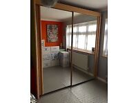 Rauch beech finished mirrored double wardrobe