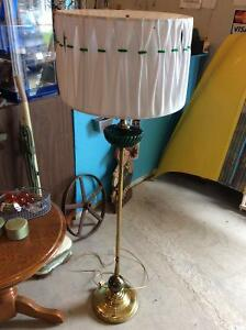 Retro brass and emerald green glass floor lamp
