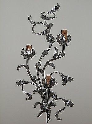 Applique a 3 luci in ferro battuto foglie acanto argento NUOVO silver