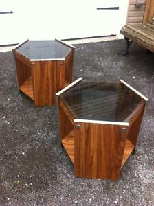 Coffee End Tables Wood with glass tops   $35.00 each
