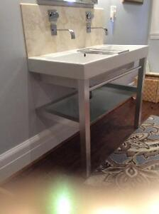 Double trough sink with brushed metal stand
