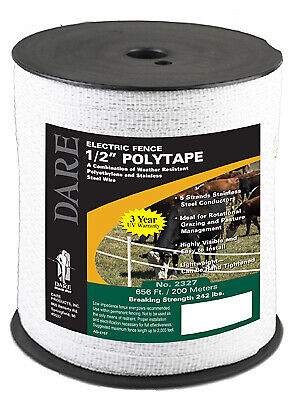 Electric Fence Tape White Poly 5-wire Stainless Steel .5-in. X 656-ft.
