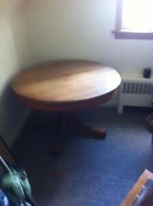 Antique Oak Table and Two Chairs