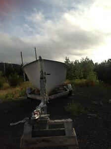 20 ft fibreglass boat, motor and trailer