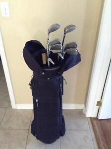 Golf bag,irons and golf shoes