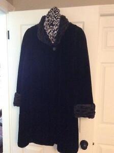 Faux Fur Swing Coat black