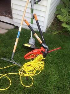Various tools 85 for the lot cutters, hedge trimmer, rake plus