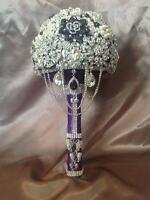 Brooch,burlap,lace,satin Bridal bouquets made to order