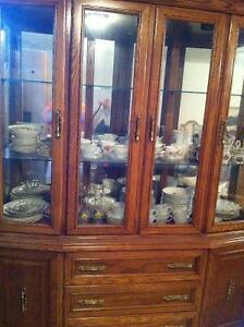 Oak Dining Room Set (China Cabinet, Dining Table, 6 Chairs)